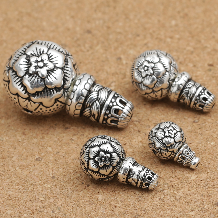 Handmade 925 Silver Flower Guru Bead Tibetan Mala's Guru Buddhist Prayer Beads Guru Bead