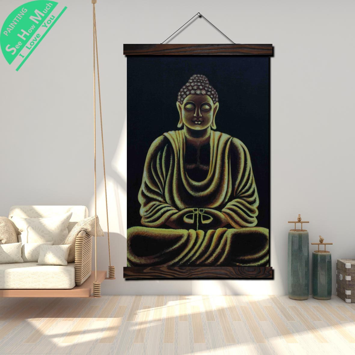 Golden Rim Buddha Scroll Painting Canvas Vintage Poster and Print Wall Art Pictures Living Room Bedroom Farmhouse Decoration in Painting Calligraphy from Home Garden