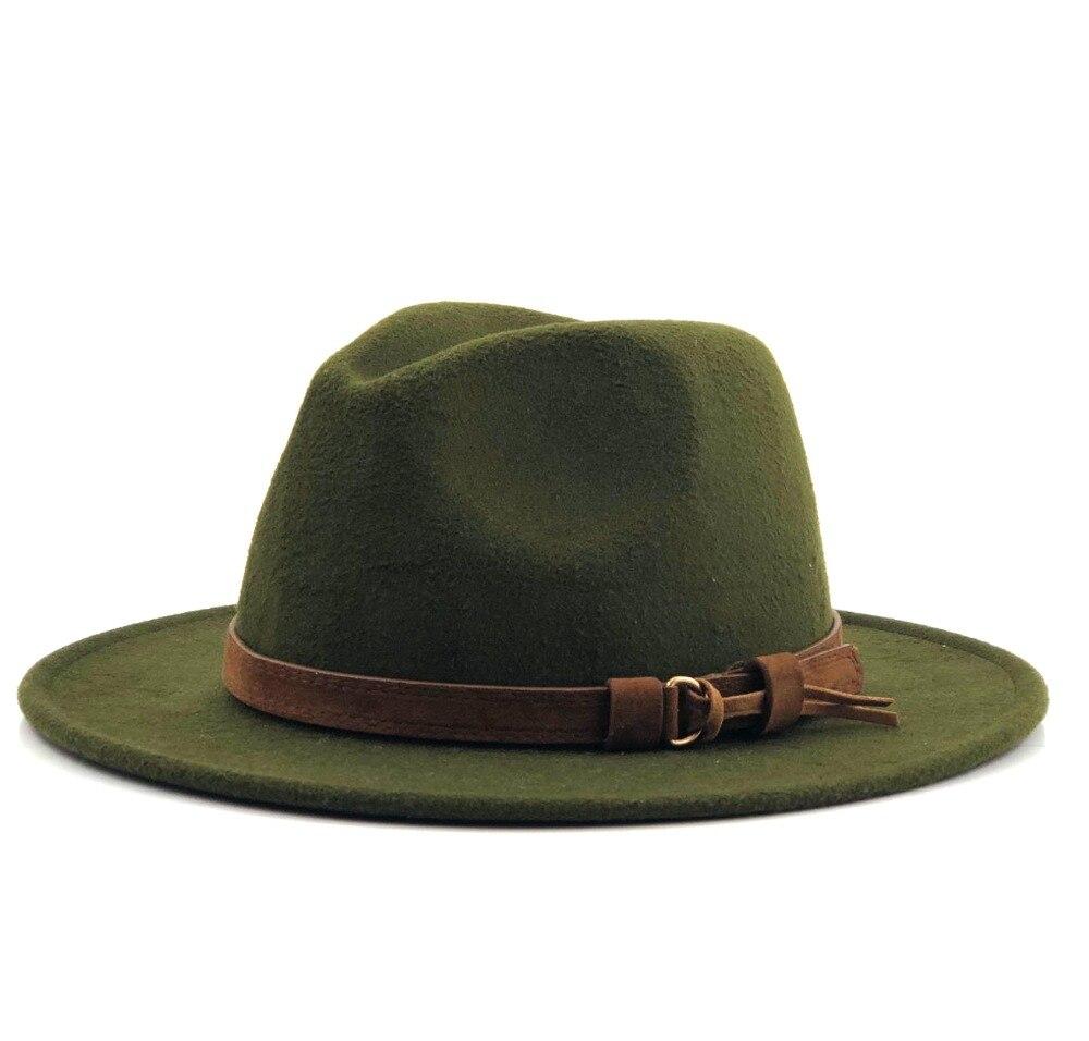 8b2968be6503d Women Men Wool Fedora Hat With Leather Ribbon Gentleman Elegant Lady Winter  Autumn Wide Brim Jazz