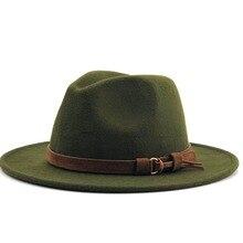 Женская Мужская шерстяная фетровая шляпа с кожаной лентой, элегантная дамская шляпа для джентльменов, зима-осень, с широкими полями, джазовая церковная Панама, сомбреро, Кепка