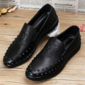 2017 sping Men's high fashion hair stylist leather loafers flats black color male foot Korean men's casual shoes US size 9