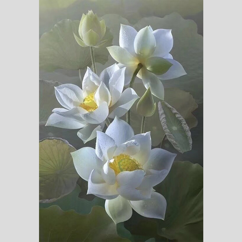 100% Hand geschilderd Super Realistische Lotus Bloemen Hoogwaardige Art Olieverfschilderij Muur Art Wall Schilderij Voor Home Decor