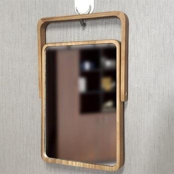 Mirrored Bathroom Accessories | European HD Makeup Mirror Wood Office Bathroom Accessories Standable Desktop Decoration Mirror Standing Cosmetic Dresser Mirror