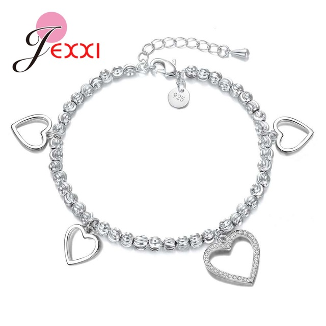 JEXXI Exquisite Lovely Romantic Gifts For Girlfriend Genuine 925 Sterling  Silver Hearts Pendant Bracelets For Women Wedding 8c39d3783704