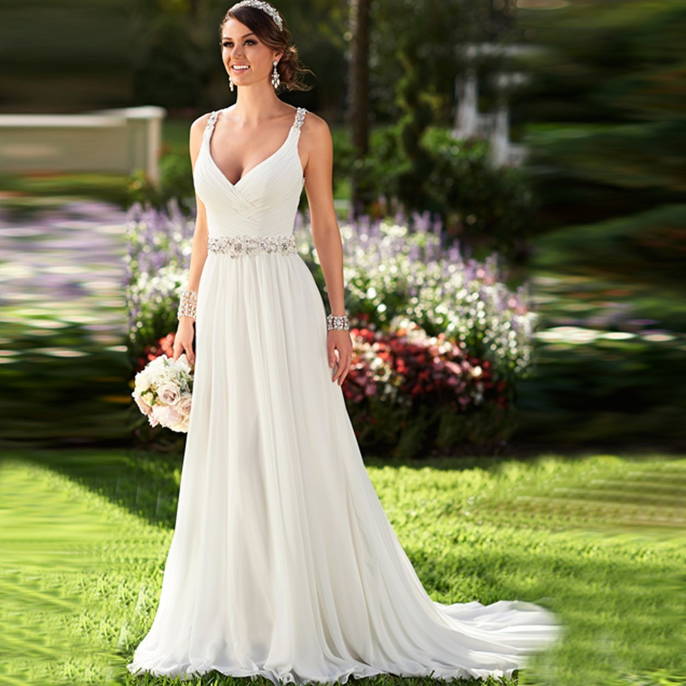 Country Western A Line Cheap Chiffon Bridal Gowns Beaded: Charming Plunging Neckline Chiffon Beach Wedding Dresses