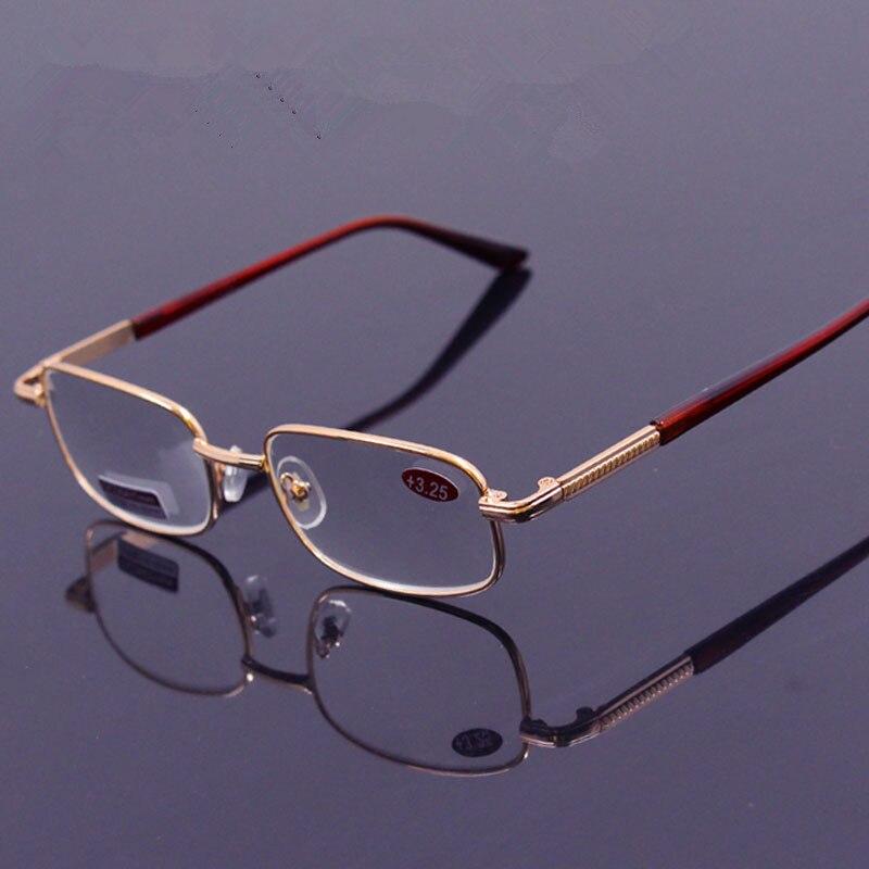 Degli uomini del metallo Occhiali Da Lettura delle donne di cristallo di Vetro lenti Ipermetropia + 50 + 75 125 + 175 + 225 + 275 + 325 + 375 + 450 + 500 + 550 + 600