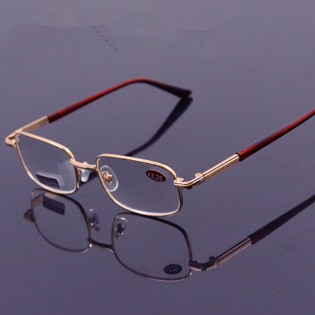 Metal Men's Reading Glasses women crystal Glass lenses Farsightedness +50 +75 125 +175 +225 +275 +325 +375 +450 +500 +550 +600