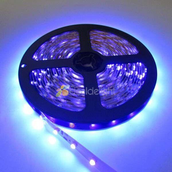 Wholesale 50M DC12V 3528 SMD 300 Leds Ultraviolet UV 395-405nm Purple Non-Waterproof Flexible LED Strip Light Free Shipping