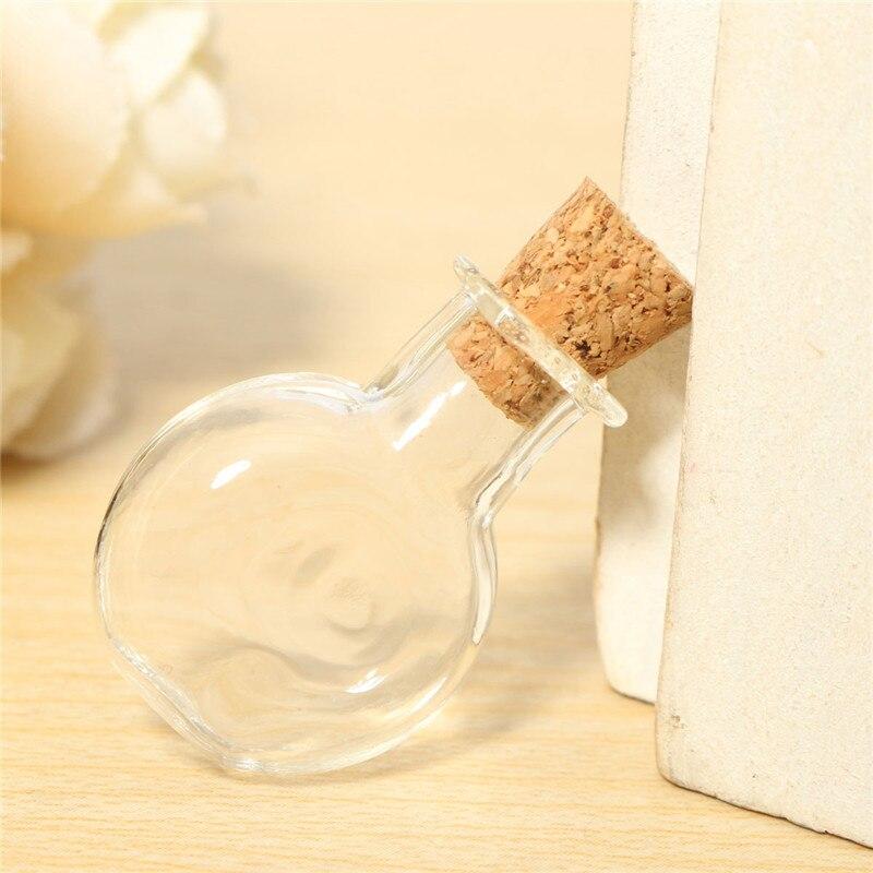 high quality 10pc artificial blowing glass transparent small empty round flat jars vial glass bottles pendant blown glass bottle pendant