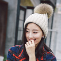 2016 New Winter Hat Lady wool hat with warm cashmere knitted hat Korean raccoon fur ball sleeve cap