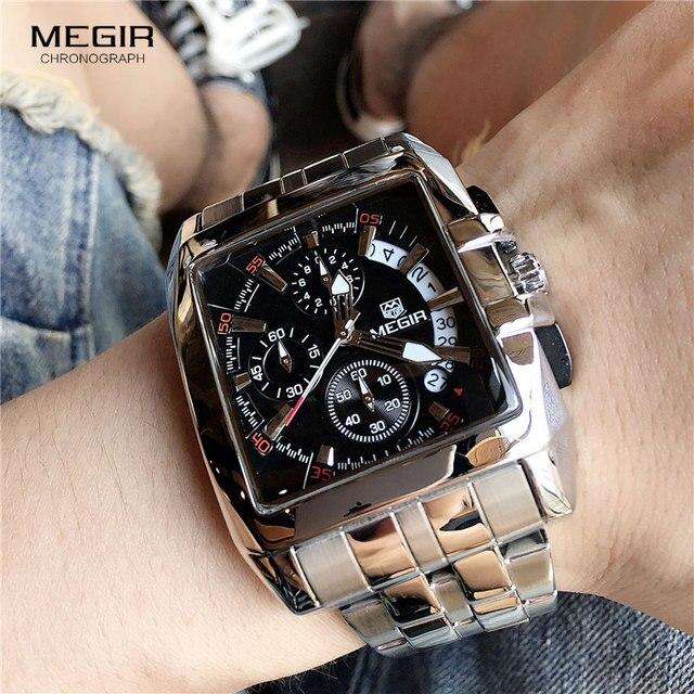 MEGIR ファッションメンズ腕時計トップブランドの高級クォーツ時計男性鋼日付防水スポーツウォッチレロジオ Masculino