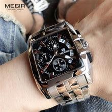 MEGIR relojes para hombre, de cuarzo, resistente al agua, con fecha de acero, Masculino