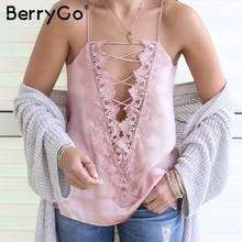 BerryGo Sexy adjustable strap camisole tank top female Casual lining autumn satin lace up cami women Reversible lace camisole