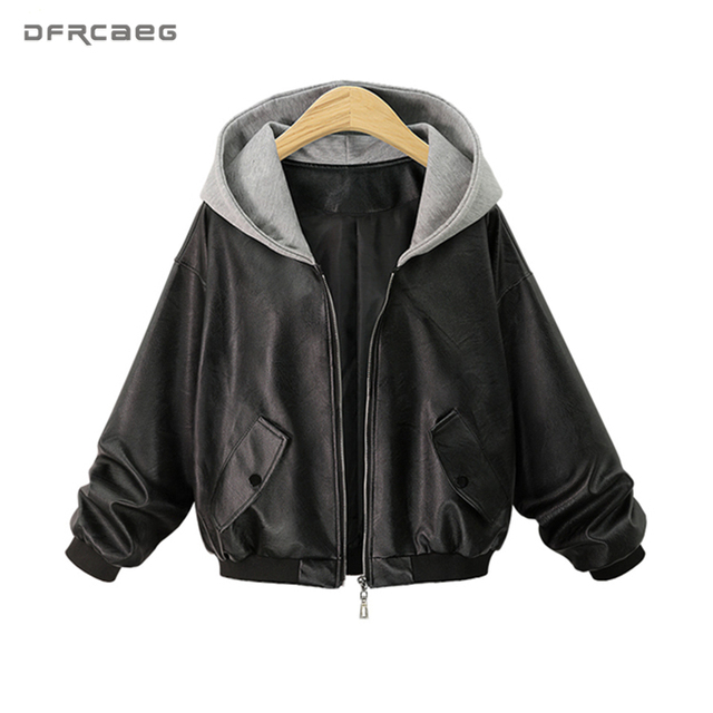 5ebdc8d3ab568 Plus Size PU Leather Jacket Women Fashion 2018 Winter Oversized Motorcycle  Bomber Jackets Coats Zippers Pockets Hooded Outerwear