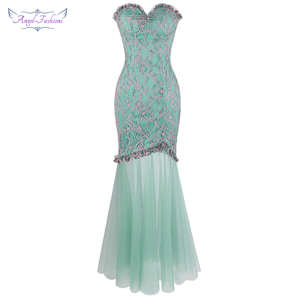 Angel-fashions Strapless Floral Lace Illusion Long Evening Dresses Light Green W-190109-S