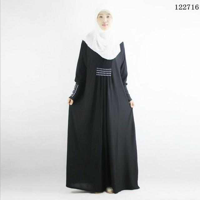XL-4XL плюс размер Мусульманской абая jilbabs дубай кафтан исламская одежда для женщин хиджаб дубай изысканный бисероплетение мусульманские платья w1748