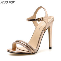 JOJOFOX Rhinestone High sandals Sexy Golden Ankle Belt Sandals Party Women thin high heels pumps wedding shoes summer footwear