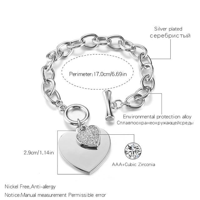Купить gold love heart charm bracelets for women accessories silver
