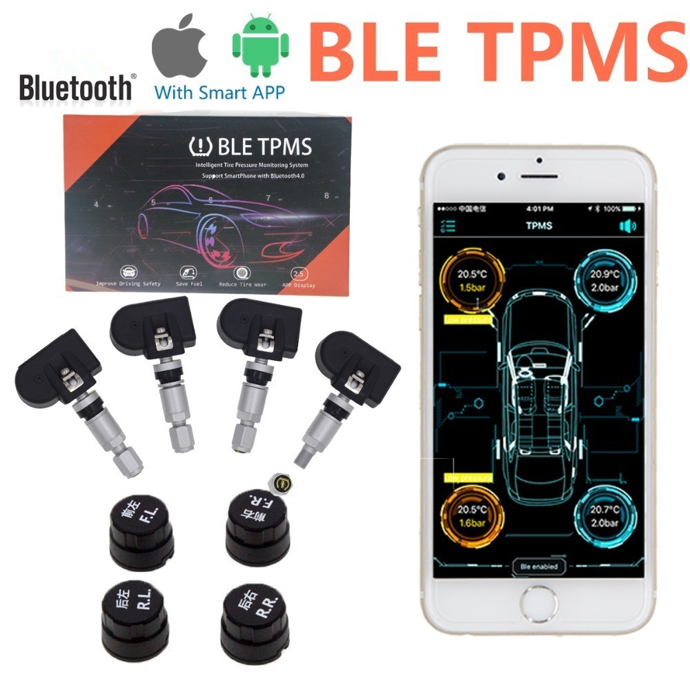 2018 New BLE TPMS Bluetooth TPMS Tire Tyre Pressure Monitoring System for iOS Android Phone App Display with 4 Sensors