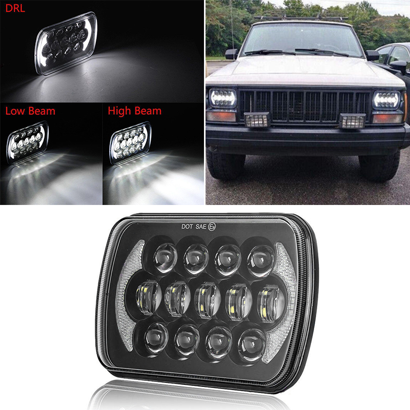 H4 IP 67 105W 7 inch LED Square Headlight High/Low Beam Lamp for Jeep Cherokee XJ 6000K 6500K Driving Lamp Headlight