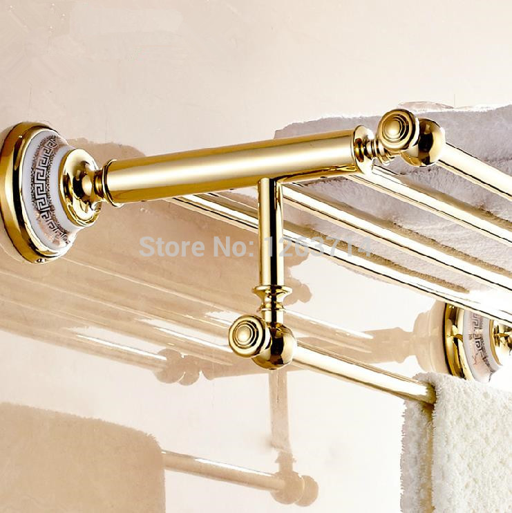 Luxury Brass Bathroom Accessories Copper Golden finish Bath Double Towel Shelves Towel Racks Towel Bar Wall Mounted OG-27822C copper bathroom shelf basket soap dish copper storage holder silver