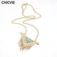 Chicvie ожерелья из зеленого и белого натурального камня золотого