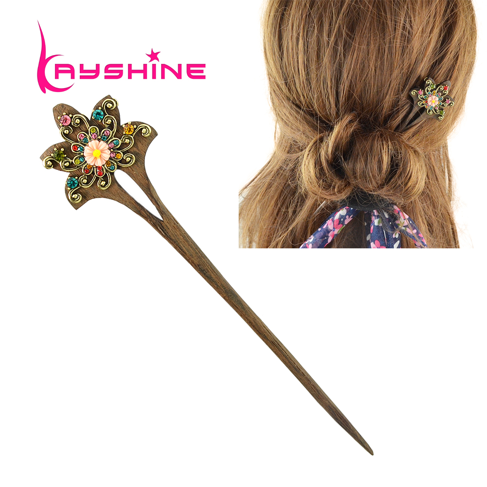 Kayshine Fashion Hair Jewelry Vintage Style Wood With Colorful Rhinestone Flower Hair Sticks