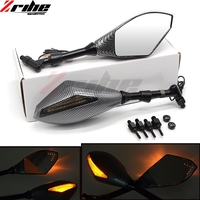 2x universal BLACK Carbon 8mm 10mm Motorcycle LED Turn Signal Rear Light Mirrors For HONDA CBR600RR PCX 125/150 CB600F VFR750