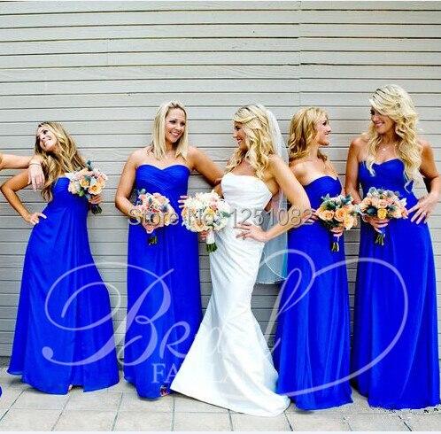74a41f11b075d Vestido de Madrinha Strapless Royal Blue Chiffon Bridesmaid Dresses Prom Dress  Maternity Dress for Pregnant Women