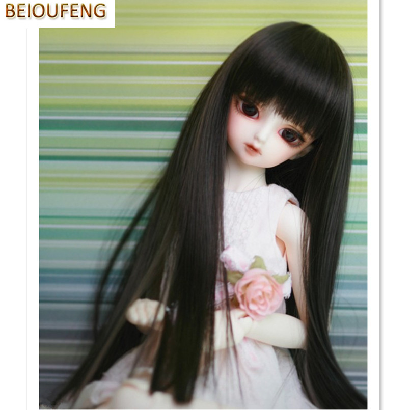 BEIOUFENG 1/6 SD BJD Doll Wigs High Temperature Wire Long Straight Doll Hair,Fashion Synthetic Doll Hair Accessories for Dolls cheap synthetic hair wigs fashion wigs