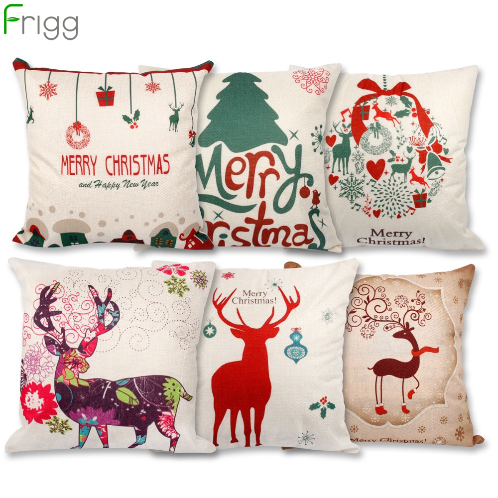 Frigg Christmas Cushion Cover Linen Cotton Tree Gold Letter Case Merry Home Decoration Sofa Seat