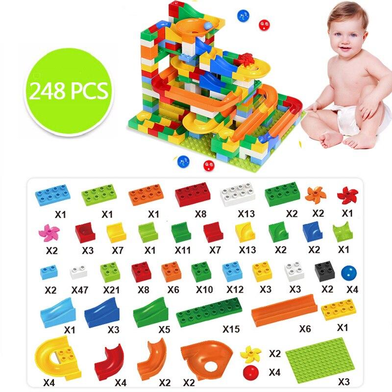 54-248 PCS Marble Race Run Maze Ball Track Building Blocks Plastic Funnel Slide Building Blocks for Toddlers