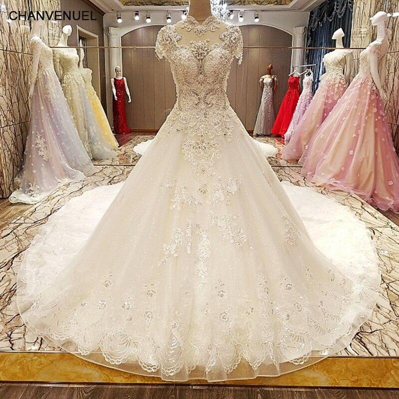 LS77846 vestido de noiva de luxo 2018 laço vestido de volta vestido de bola mangas curtas contas de renda de cristal vestidos de casamento fotos reais