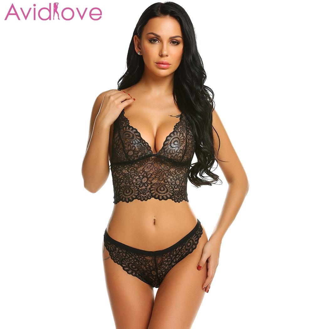 Avidlove Women Sexy Hollow Lace Floral Lingerie Sets Erotic Nightwear Nighty Costumes Hot Clothes Set Bra with G String