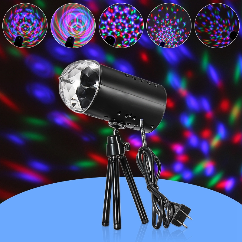 Jiguoor3W LED RGB Stage Light Auto Rotating Crystal Laser Projector Disco Voice-activated Lighting  DJ LED Bulb Party Lamp