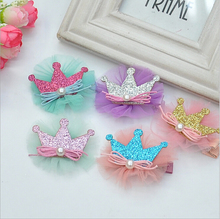 2 PIECES 2019 New arrivals Baby hair pin beautiful ribbon lace tiaras barrette fashion clips for girls childrens headdress