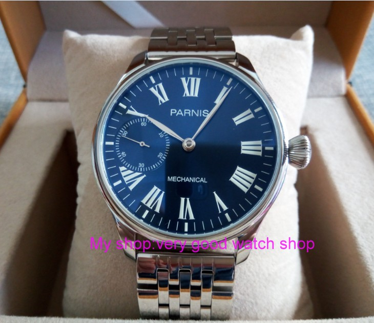 44mm PARNIS Blue dial Asian ST3600/6497 Mechanical Hand Wind movement Mechanical watches Luminous men's watches sdgd026A 44mm black sterile dial green marks relojes 6497 mens mechanical hand winding watch luminous armbanduhr cm164bk