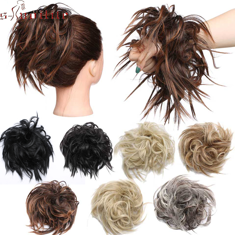 S-noilite 45g Synthetic Hair Extensions Women Chignon with Rubber Band Donut Hairpieces Hair Bun Wrap Ponytail Black Brown fishtail braid with hair accessory