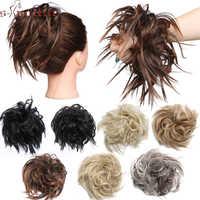 S-noilite Scrunchy Haar Bun Synthetische Haar Verlängerung Haarteile Für Frauen Messy Bun Frauen Chignon Haar Band Donut Wrap pferdeschwanz