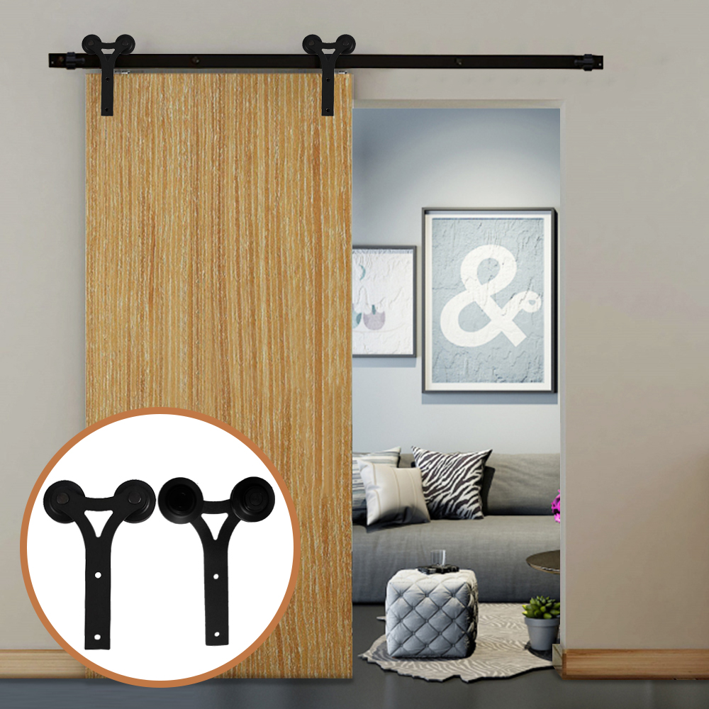LWZH Rustic Wooden Sliding Door Closet Hardware Kit Black Carton Steel Y Shaped For 6FT/7FT/ 9 FT Single Sliding Barn Doors