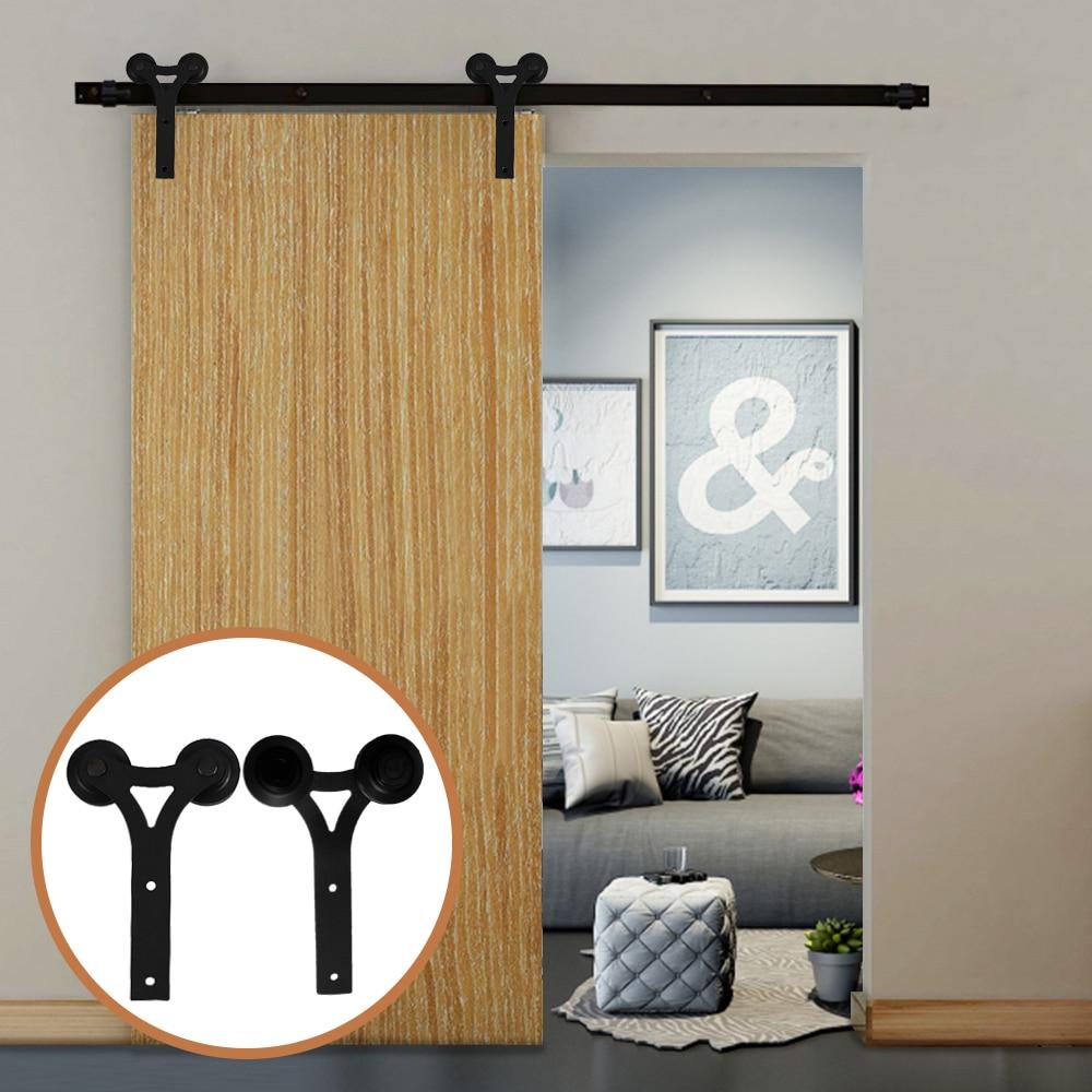 LWZH Rustic Wooden Sliding Door Closet Hardware Kit Black Carton Steel Y Shaped For 6FT/7FT/ 9 FT Single Sliding Barn Doors