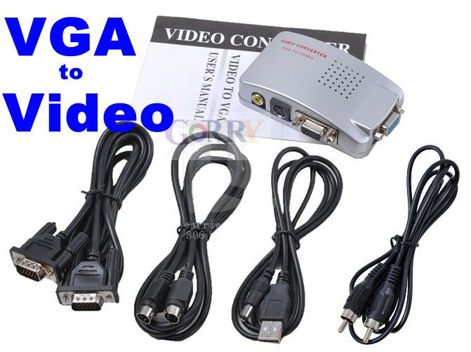 Computer Laptop PC VGA to TV AV RCA Video Svideo Converter Adapter Switch Box Conversion Composite VGA to Video w/ Cable pc laptop composite video tv rca composite s video av in to pc vga lcd out converter adapter switch box