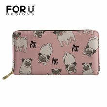 FORUDESIGNS Brand Luxury Wallets Cute Pug Dog Printing PU Leather Purse for Girls Coin Pocket Zipper Ladies Cluth Cash Holder fashion luxury cluth bags ladies purse 100