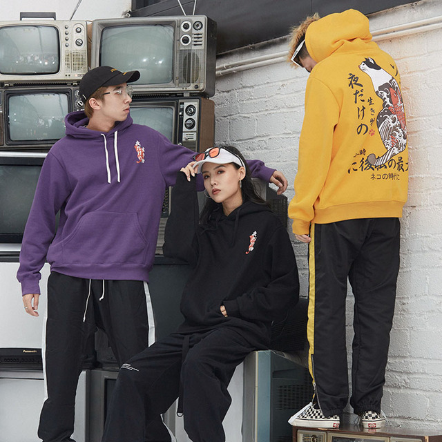New Men Japanese Printed Hooded Pullover Sweatshirt Men High Street Fashion Hip Hop Streetwear Hoodie Autumn 3