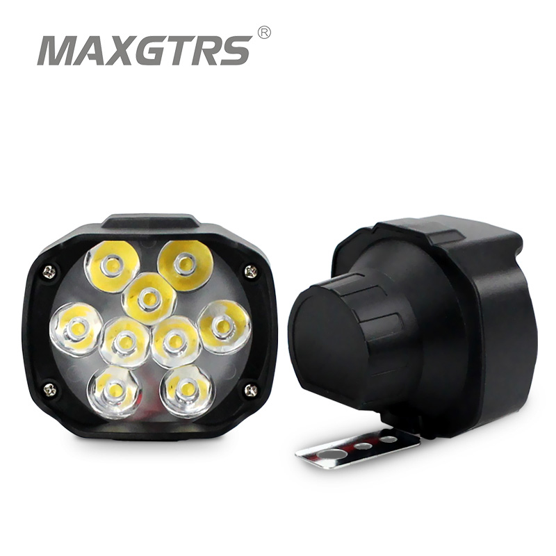 MAXGTRS Motorcykel Led strålkastarlampa 15W 1500Lm Scooters Dimljus Spotlight 6500K White DRL Motorbike Working Spot Light 9-85V
