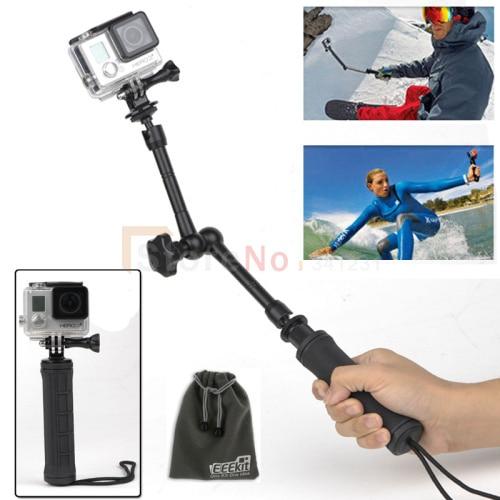 4 en 1 GoPro 11 pulgadas magia brazo articulado Hero4 HD 3 3, 3-Way polos plegab