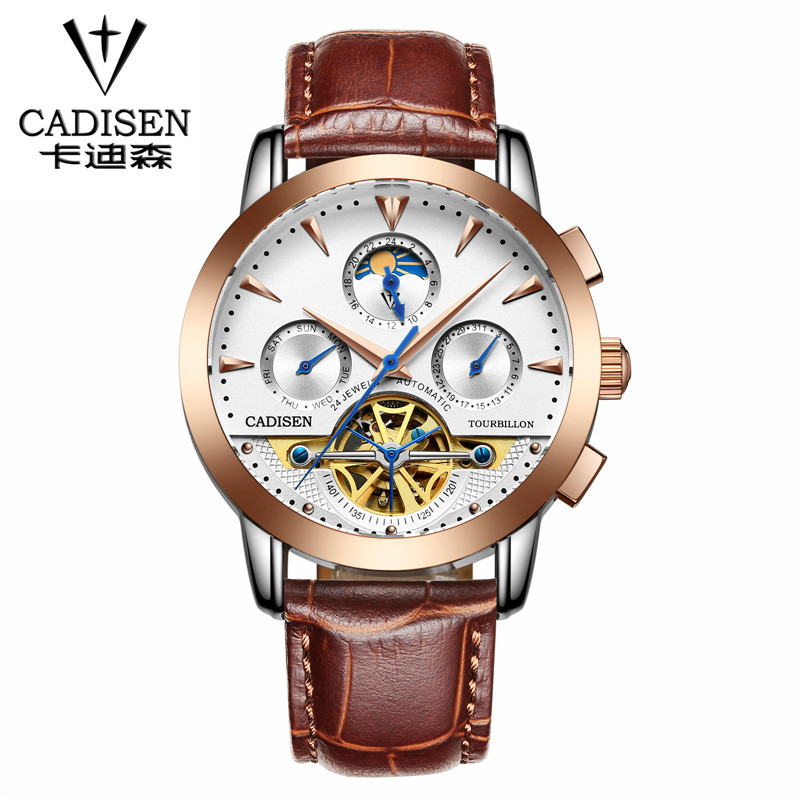 Luxury Brand CADISEN Mechanical Watches Men Fashion Skeleton Automatic Mechanical Watch Wristwatch Reloj Hombre mce luxury brand skeleton square mechanical watches leather gold automatic watch men waterproof casual wristwatch reloj hombre