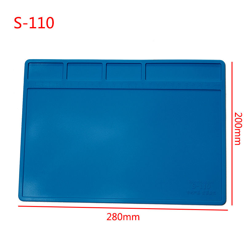 S-110 Heat Insulation Silicone Soldering Pad Mat Desk Maintenance Platform For BGA Solder Rework Station Phone Repair ToolsS-110 Heat Insulation Silicone Soldering Pad Mat Desk Maintenance Platform For BGA Solder Rework Station Phone Repair Tools