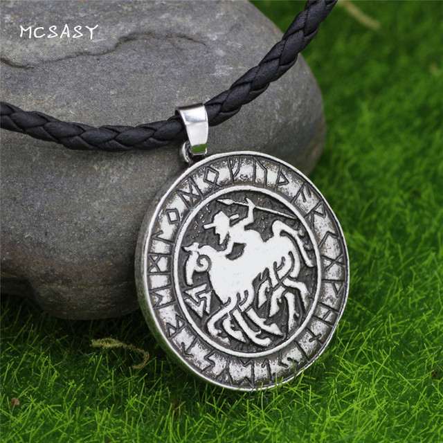 MCSAYS Norsemen Viking Jewelry Horse Warrior Odin Coin Pendant Punk