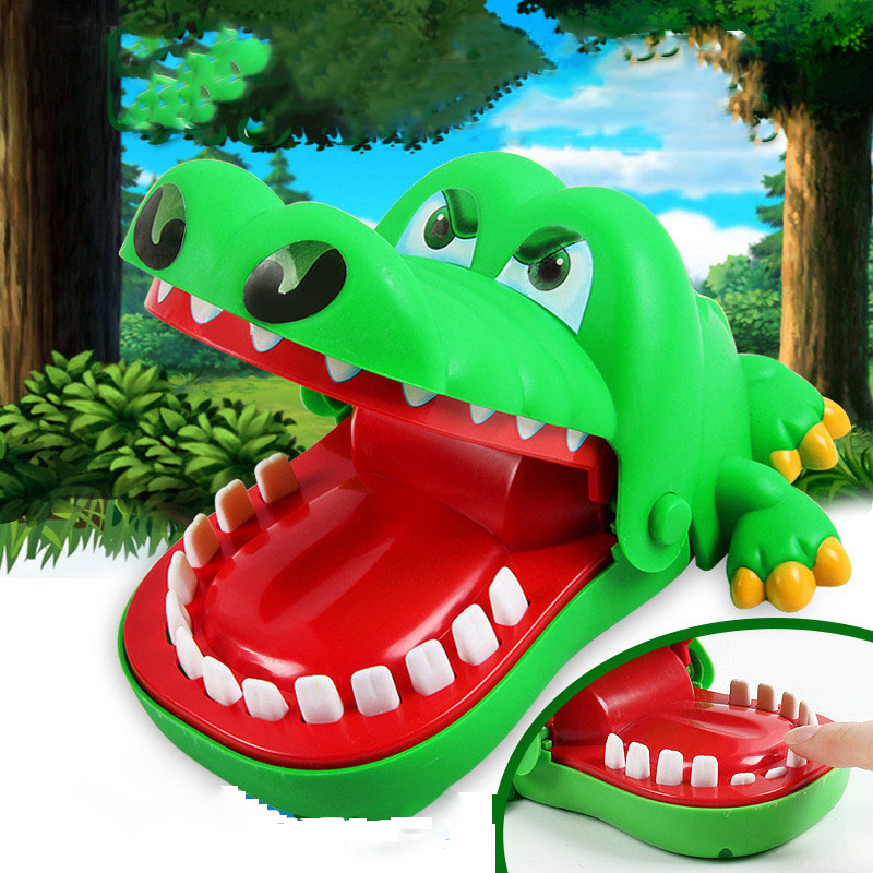 BalleenShiny Baby Mini Crocodile Dentist Finger Biting Toys Children Key Chain Playing Tricky Toy Kids Cartoon Family Game Gifts